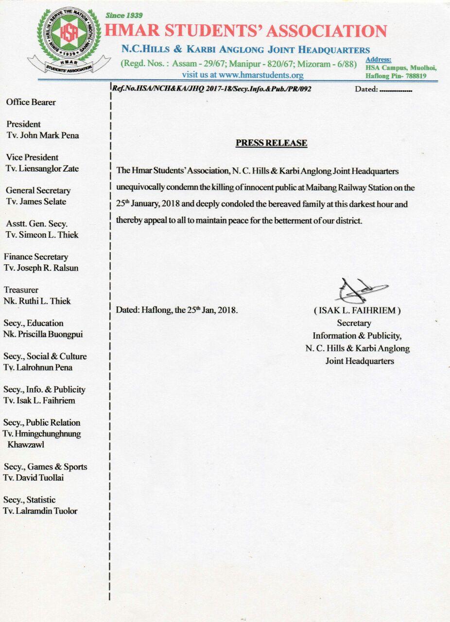 NC Hills & KA JHQ PR on Maibang Railway Station incident