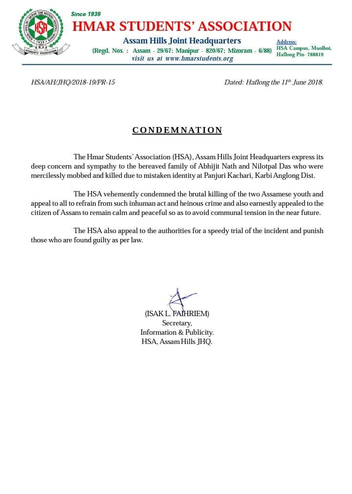 HSA Assam Hills JHQ Condemnation on Karbi Anglong incident