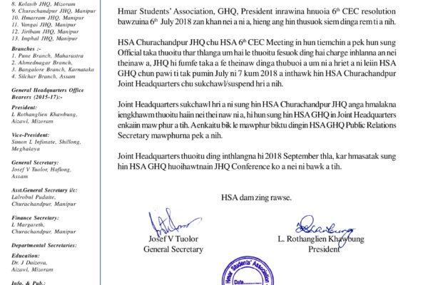 HSA Churachandpur JHQ le inzawma GHQ Thusuok