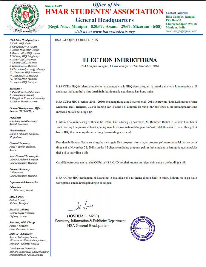 HSA CCPur JHQ Election Inhriettirna